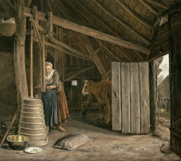 Govert-dircksz-camphuysen-barn-interior-with-a-maid-churning-butter
