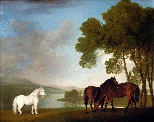 Stubbs-two-bay-mares-and-a-grey-pony-in-a-landscape