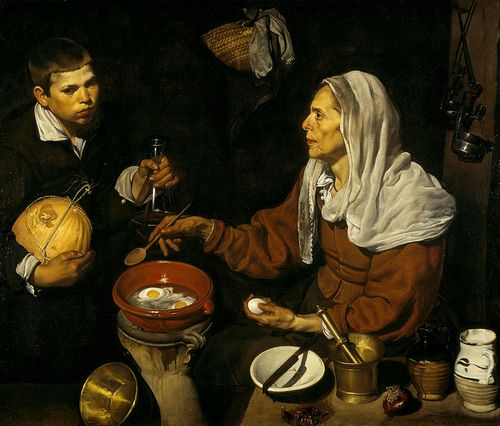 VELÁZQUEZ_-_Vieja_friendo_huevos_(National_Galleries_of_Scotland,_1618._Óleo_sobre_lienzo,_100.5_x_119.5_cm)